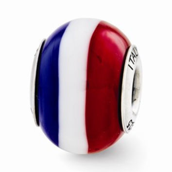Sterling Silver Red/White/Blue Italian Murano Glass Bead