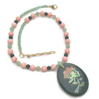 Coral Jade Necklace Black Onyx Abalone Mosaic Style Pendant Signed Lee Sands Vintage Jewelry