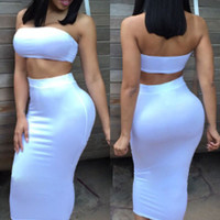 White Cropped Tube Top and Pencil Skirt Set