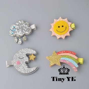 1 PCS New Design Cute Moon Hair Clips Sparkly Sun Glitter Rainbow Felt Animal Hairpin Girls Children Hair Accessories