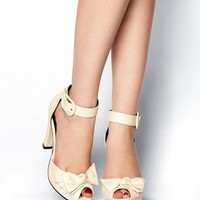 Knotted Ankle Strap Heel in Cream