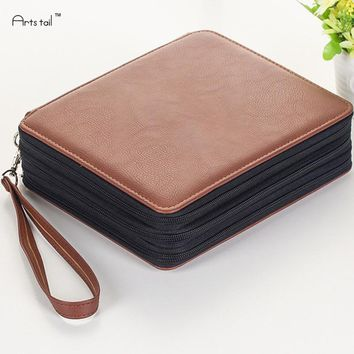 Secret Garden 124 Holes 4 Layer PU Leather School Pencils Case Pencil Drawing Sketch Pouch Bag  Portable Fashion Art Supplies
