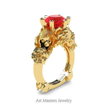 Love and Sorrow 14K Yellow Gold 3.0 Ct Ruby Skull and Rose Solitaire Engagement Ring R713-14KYGR