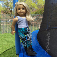 American Girl Doll Leggings, Turquoise Black Gray, Colorful Feathers
