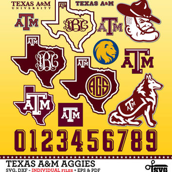 Texas A&M Aggies Monogram Frames. Vector Digital Cut Files. SVG, dxf, eps, pdf for Silhouette, Cricut, SCAL yeti vinyl Die Cutting CF-58