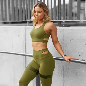 New Women Workout Suit Fitness Clothing Gym Running Tights Sports Tracksuit Sexy Running Yoga Set Quick Dry Bra & Leggings