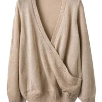 Beige Wrap V-neck Long Sleeve Knit Sweater