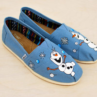 Custom hand-painted Toms featuring Olaf from Frozen