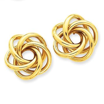 14k Solid Gold Love Knot Post Earrings