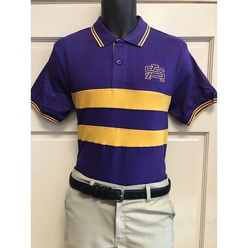 Fanwear: Purple and Gold Chest Stripe Polo