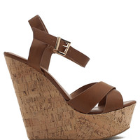 Spite Contrast Strappy Cork Wedge