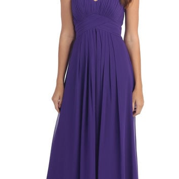 Strapless Ruched Bodice Purple Long A Line Semi Formal Dress