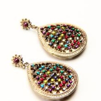 Gold Gilded Crystal Rhinestone Earrings