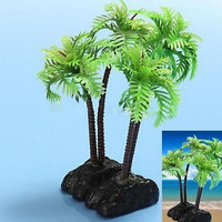Plastic Aquarium Coconut Trees Fish Tank Plants Ornament Decoration Fresh New