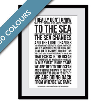 John Fitzgerald Kennedy Ocean Speech - JFK Poster - Presidential Speech - America's Cup Poster - Sailing Art Print - Beach Art Decor