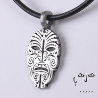 Pewter Maori Warrior Face Pendant with Necklace