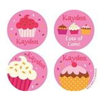 Valentines Cupcake Sprinkles Personalized Stickers
