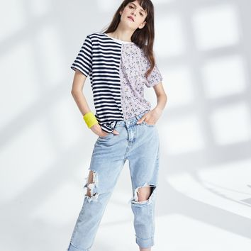 Floral Stripped Spliced Tee