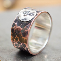 Mens ring, Mens band ring, Copper ring, Mixed metal mens ring, Personalized silver ring, Cross ring, Wide band ring, Thumb ring men
