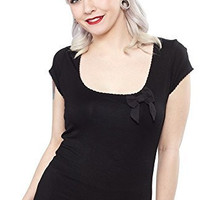 Sourpuss Black Siren Top Shirt with Bow