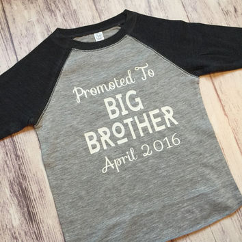 promoted to big brother shirt, pregnancy announcement shirt, soon to be big brother shirt, new baby announcement, big brother tee