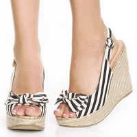 Soda Octet Black & Beige Striped Slingback Wedge Heels
