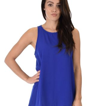Lyss Loo At First Crush Sleeveless Royal Top With Keyhole Back