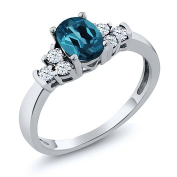 925 Silver London Blue Topaz White Topaz Ring