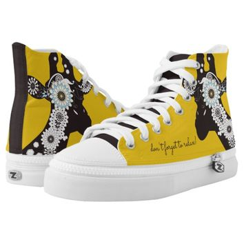 Funky Cool Paisley Giraffe Funny Animal Yellow High-Top Sneakers
