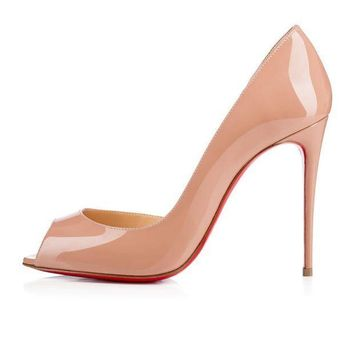 PEAPUX5 christian louboutin cl demi you nude patent leather 100mm stiletto heel fw15