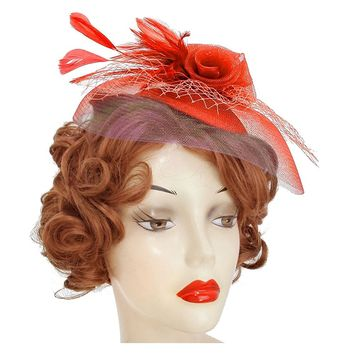 Red Flower Feather Mesh Headband Clip Fascinator