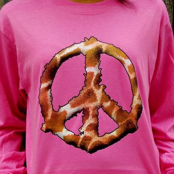 Giraffe Print Long Sleeved T-Shirt. Peace Shirt. Customize To Size And Color.