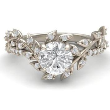 Museum 2CT Russian Lab Diamond Floral Engagement Ring