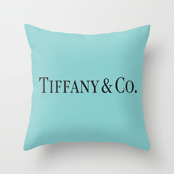 Decorative Pillows In Tiffany Blue : Tiffany Blue Throw Pillow by Luxe Glam from Society6 Dorm