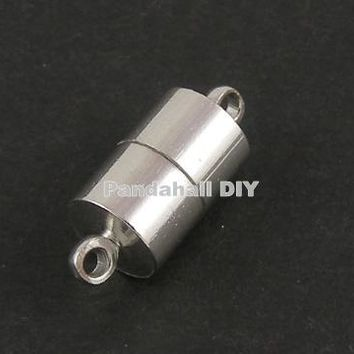 100Sets Brass Magnetic Clasps Jewelry Findings, Nickel , Column, Platinum, 16x6mm, Hole: 1.5mm