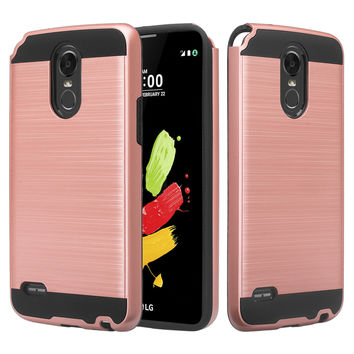 LG Stylo 3 Case, LG Stylo 3 Plus Slim Hybrid Dual Layer [Shock Resistant] Armor Case for Stylo 3 / Stylo 3 Plus - Brush Rose Gold
