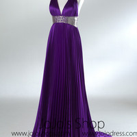 Purple Grecian Halter Formal Prom Evening Dress HB2028A