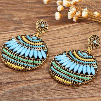 Bohemian Vintage Ethnic Drop Earrings Women Sea Holiday Colorful Round Dangle Earring Jewelry Brincos Maxi #228447
