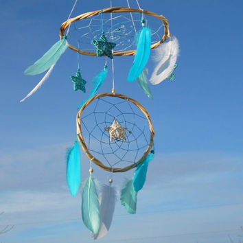 Blue dreamcatcher mobile Star baby mobile Large dream catcher White blue feather mobile Willow dreamcatcher Crib nursery mobile Hanging boho