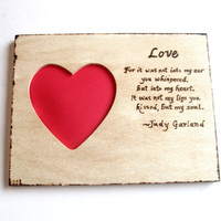 Wedding photo frame. Wooden heart frame woodburned with Judy Garland quote.