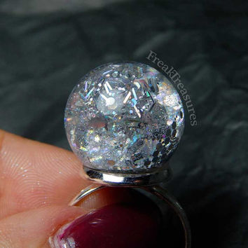 Magic Holographic water globe adjustable ring kawaii soft grunge pastel goth witchy gipsy holo