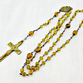 Antique Catholic Rosary Necklace, Amber Glass Bead Rosary Necklace, Brass Rosary Necklace, 1930s Art Deco Christian Religious Jewelry