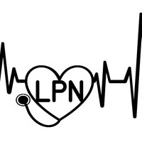 (2) TWO - Heartbeat LPN Vinyl Graphic Decal