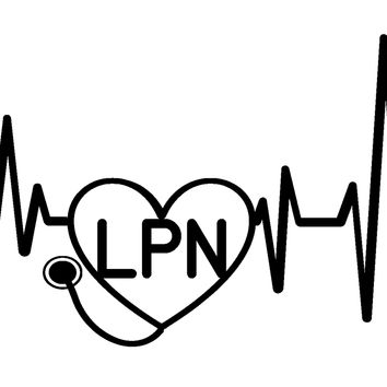 Heartbeat LPN Vinyl Graphic Decal