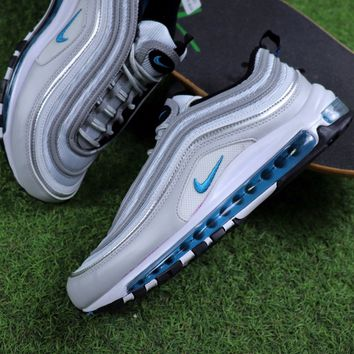 Best Online Sale Nike Air Max 97 OG QS Sliver Blue Sport Running Shoes  884421-001