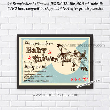 Baby Shower, Boy, Vintage Airplane, Baby Shower Invitation, blue  Retro baby shower invitation baby boy Shower Design- card 261