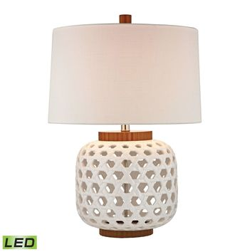 Woven Ceramic LED Table Lamp in White And Wood Tone White,Wood Tone