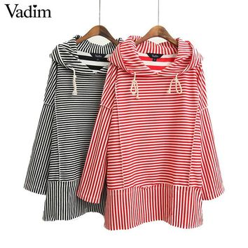 Women vintage striped bow tie hooded sweatshirt pockets long sleeve pullover casual tops