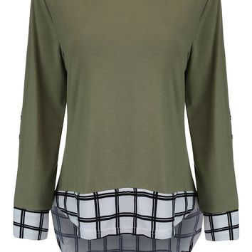 Streetstyle  Casual High-Low Round Neck Plaid Long Sleeve T-Shirt