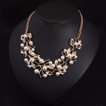 Simulated Pearl Blossom  Gold/Silver Plated Necklace